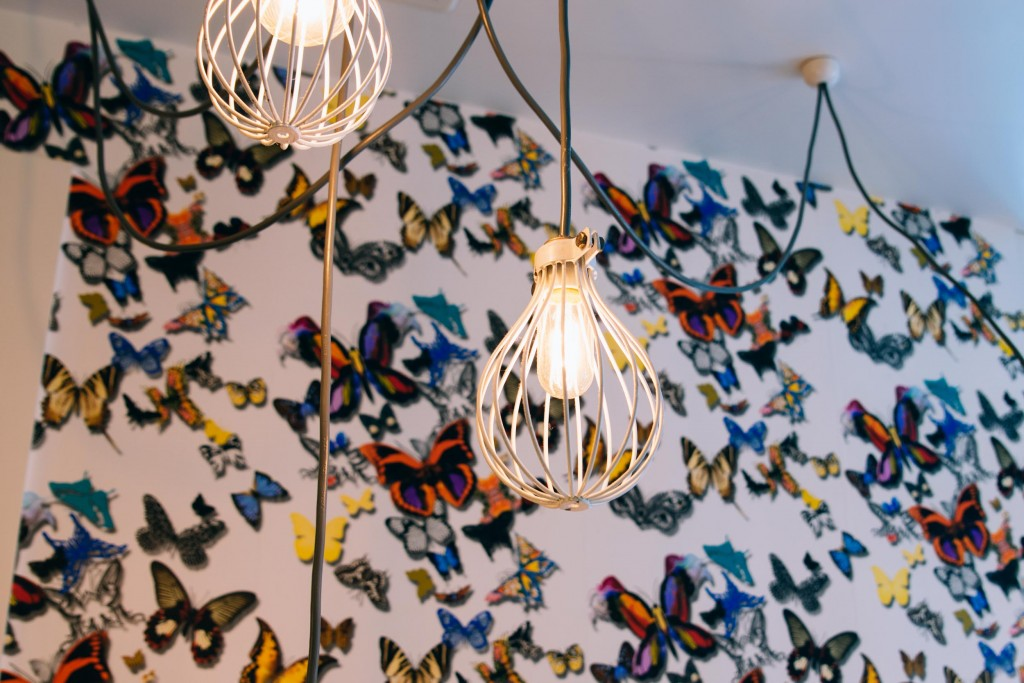 More of the Butterfly wall and caged lights at Hardware Societe