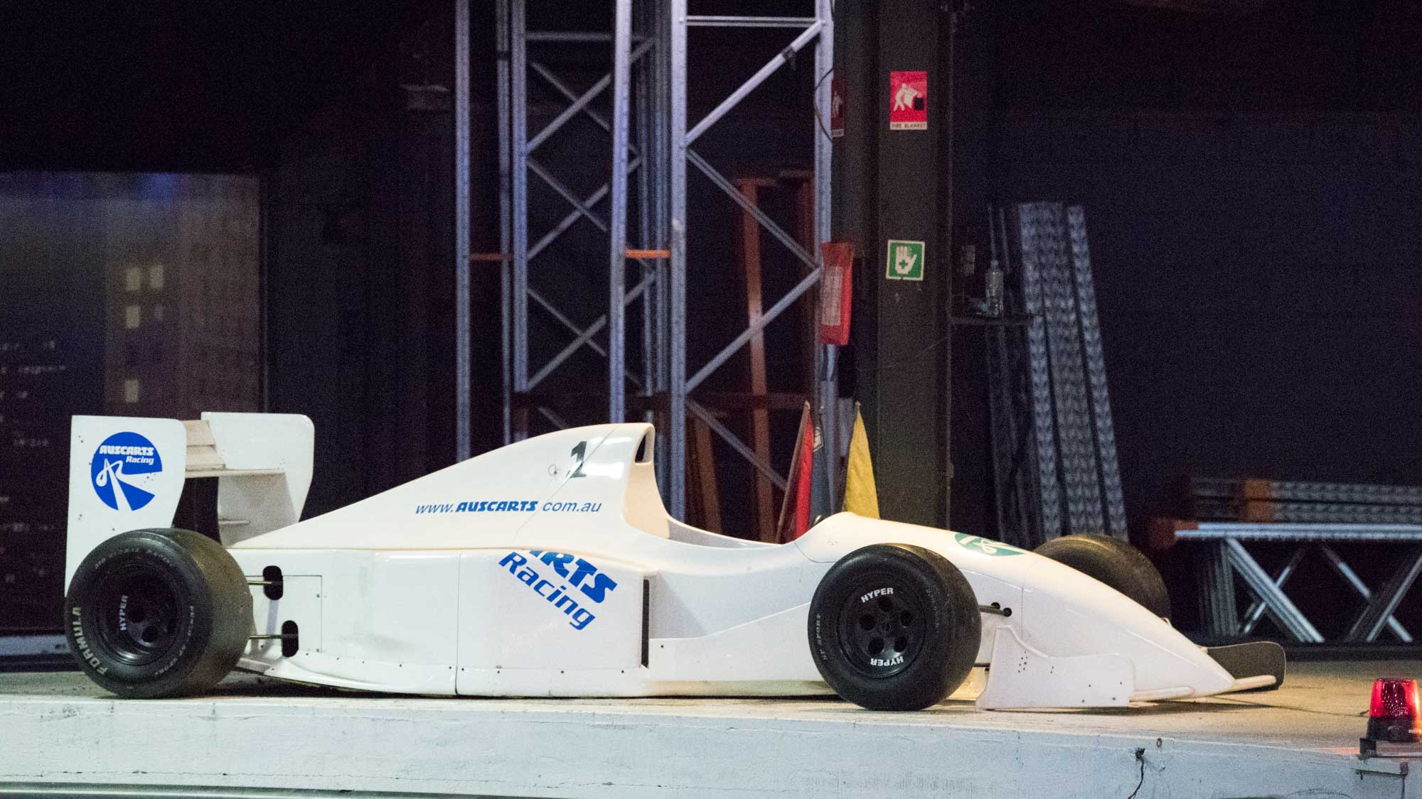 Formula 1 car on a platform. Nikon D5 camera.