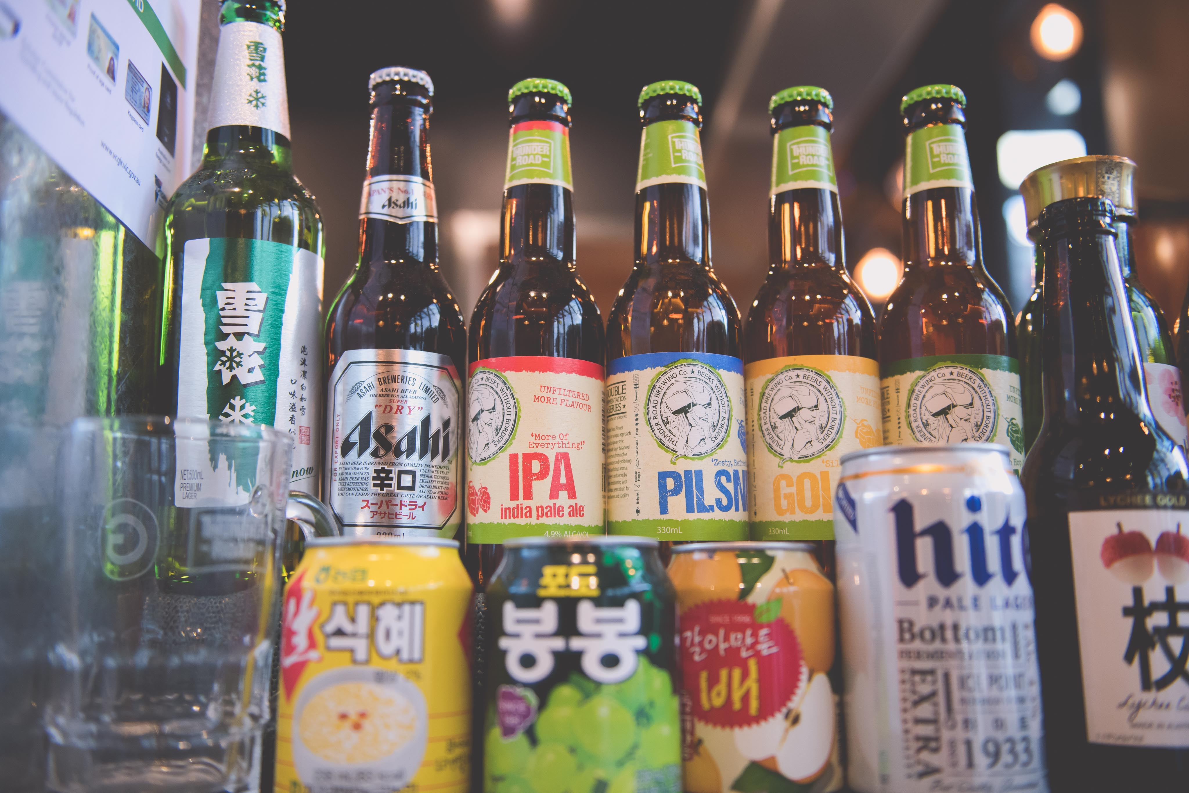 A selection of beers at Gami chicken and beer Box Hill