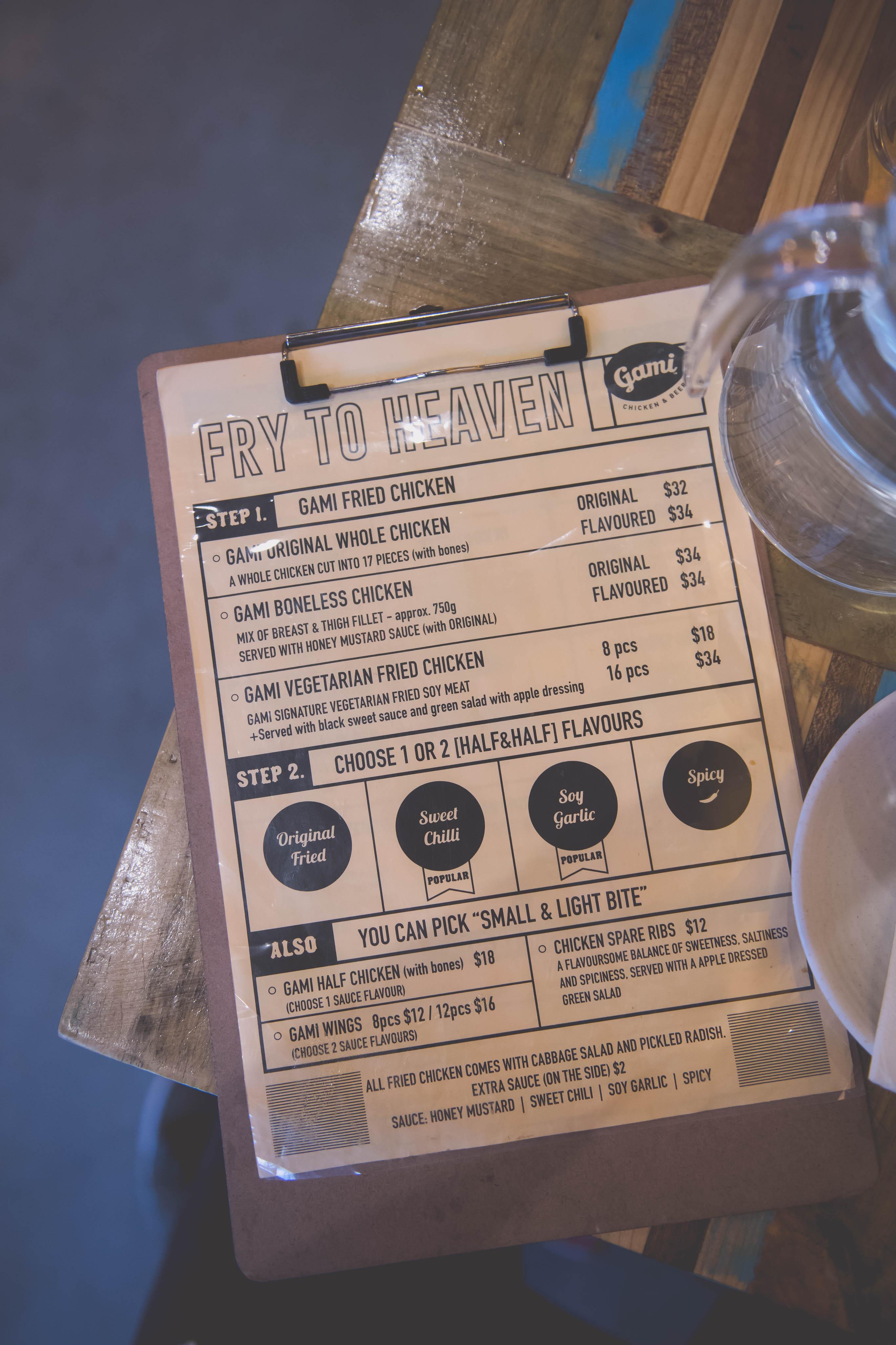 Gami chicken and beer menu